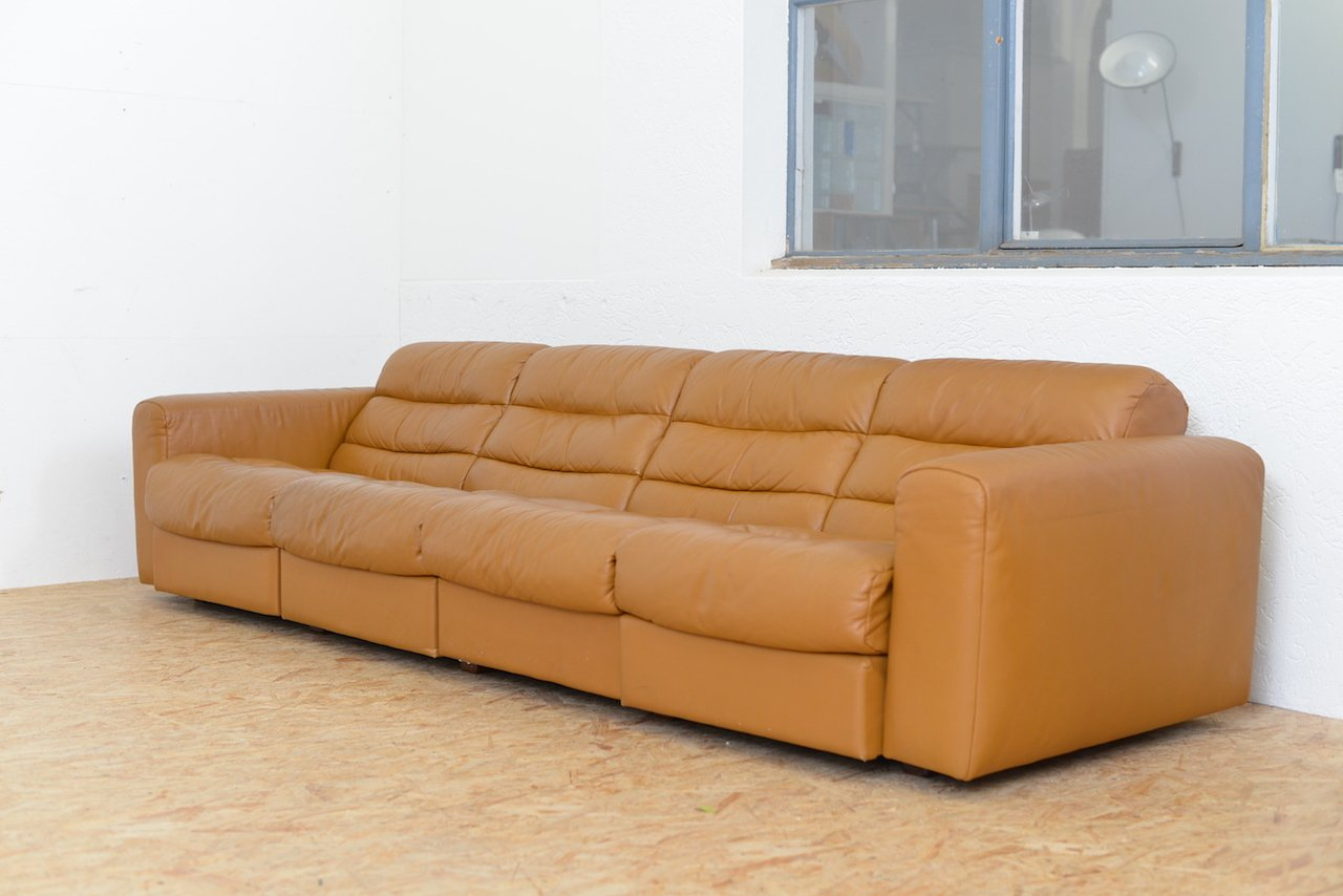 Vintage Four Seater Leather Sofa With Relax Function From Intended For 4 Seat Leather Sofas (View 15 of 15)