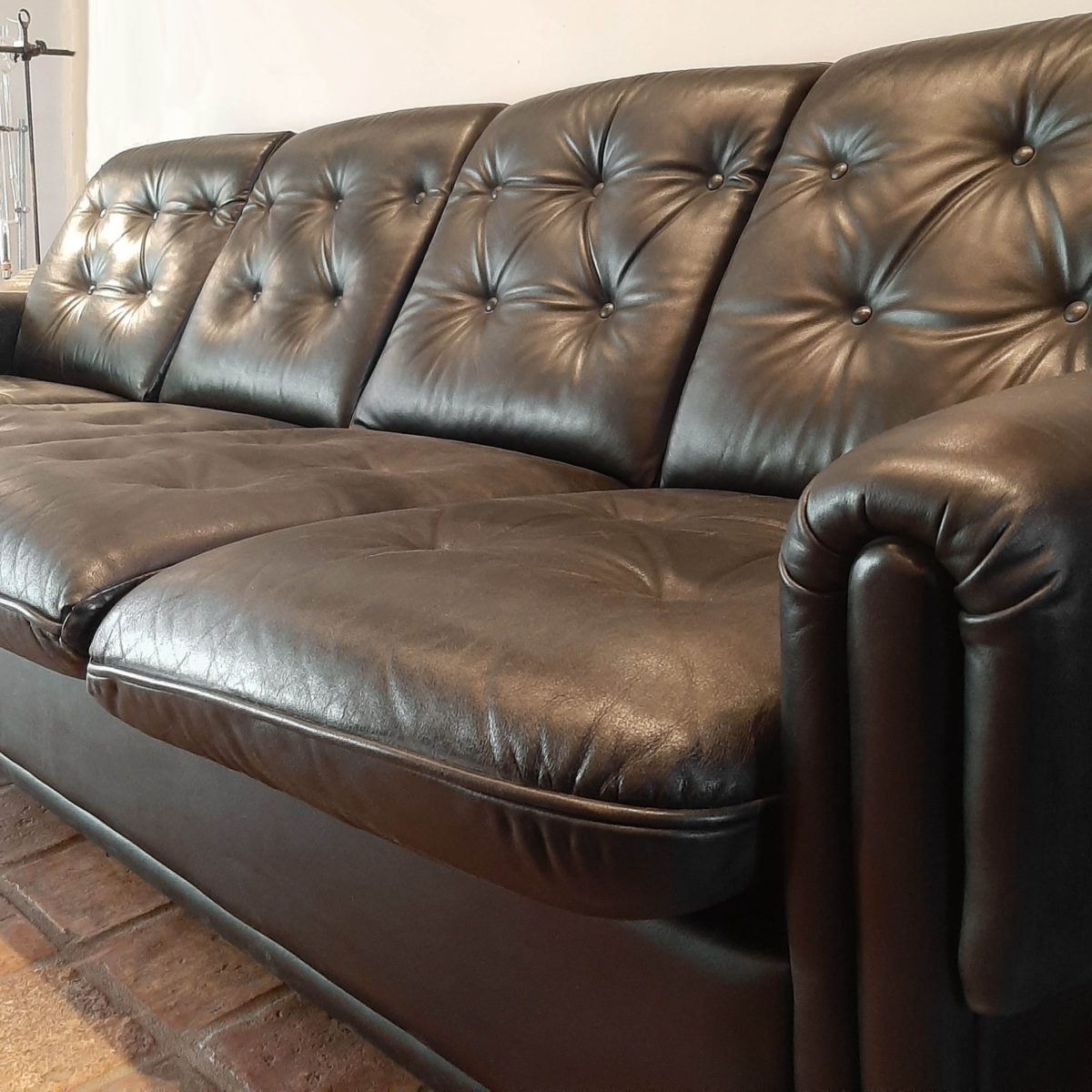 Vintage Four Seater Sofa Made Of Black Leather – Piet Jonker With 4 Seat Leather Sofas (View 3 of 15)