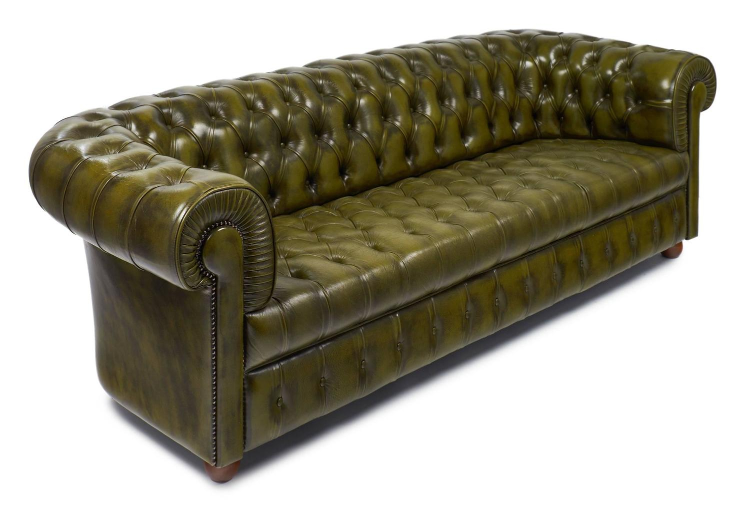 Vintage Green Leather Chesterfield Sofa At 1Stdibs Regarding Vintage Chesterfield Sofas (View 15 of 15)