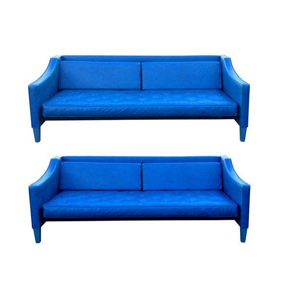 Vintage Mod Sofa Bright Blue Mid Century Modern Panton Regarding Dove Mid Century Sectional Sofas Dark Blue (View 10 of 15)