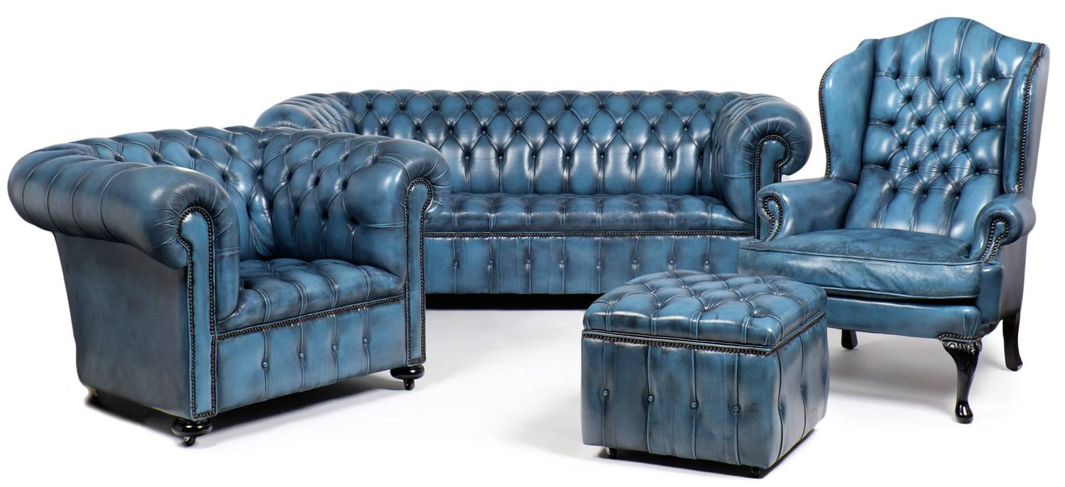 Vintage Steel Blue Leather Chesterfield Sofa At 1Stdibs Regarding Vintage Chesterfield Sofas (View 13 of 15)