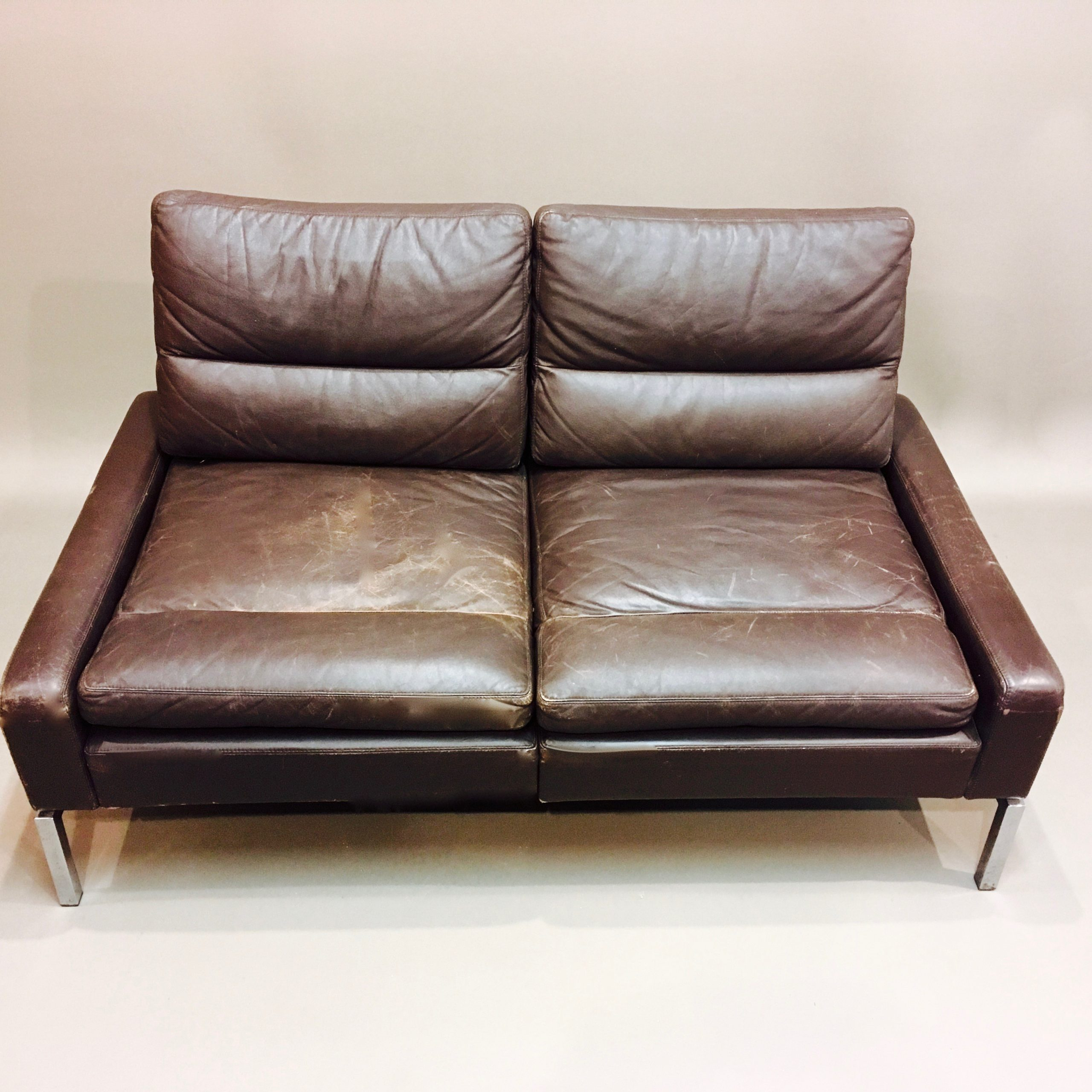 Vintage Two Seater Sofa In Leather And Chrome – 1960S Regarding Two Seater Sofas (View 9 of 15)