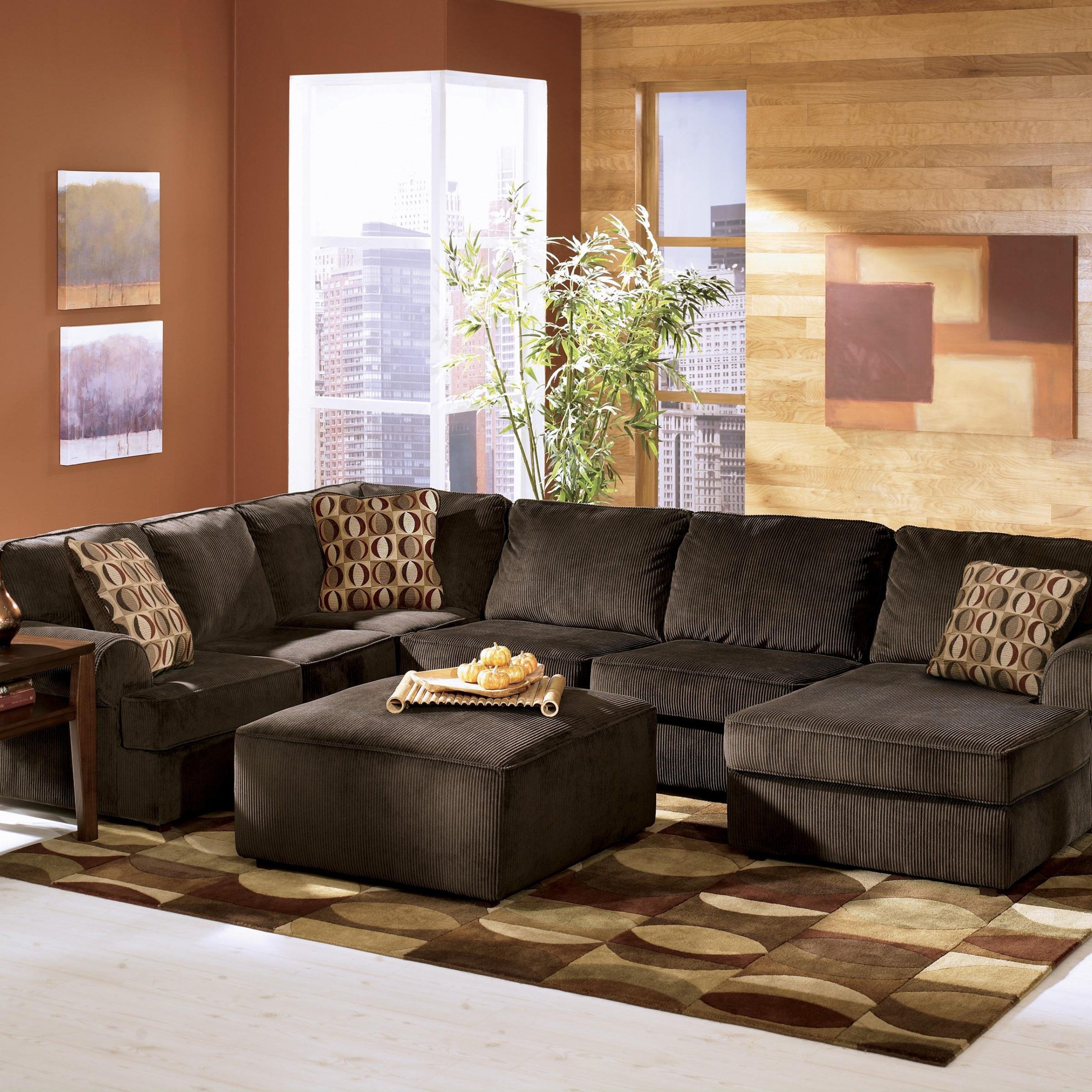 Vista – Chocolate (68404)Ashley Furniture – Del Sol Pertaining To 2Pc Luxurious And Plush Corduroy Sectional Sofas Brown (View 12 of 15)
