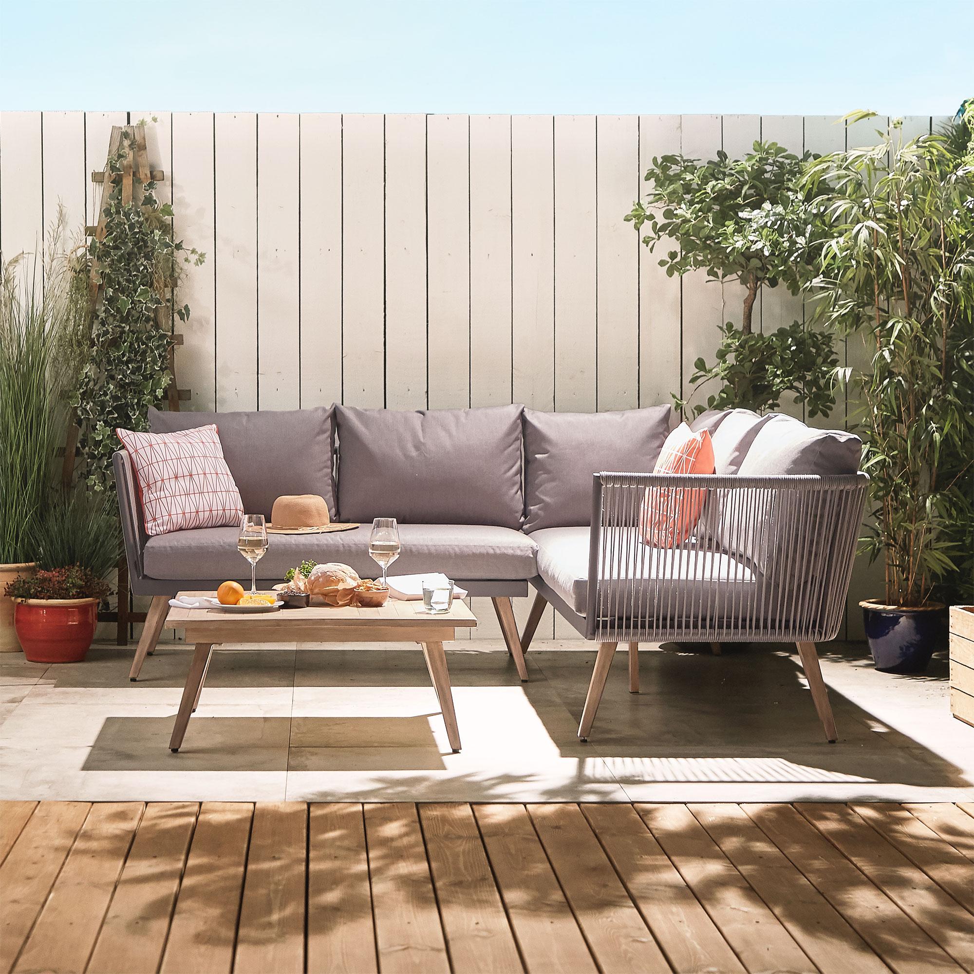 Vonhaus Rope Style Rattan Corner Set Garden Patio Modern Within Outdoor Sofa Chairs (View 5 of 15)