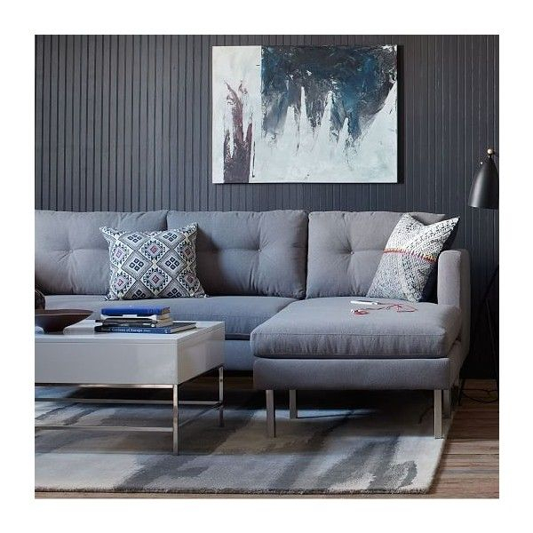 West Elm Jackson Sectional, Linen Weave, Dusty Blue In Brayson Chaise Sectional Sofas Dusty Blue (View 8 of 15)