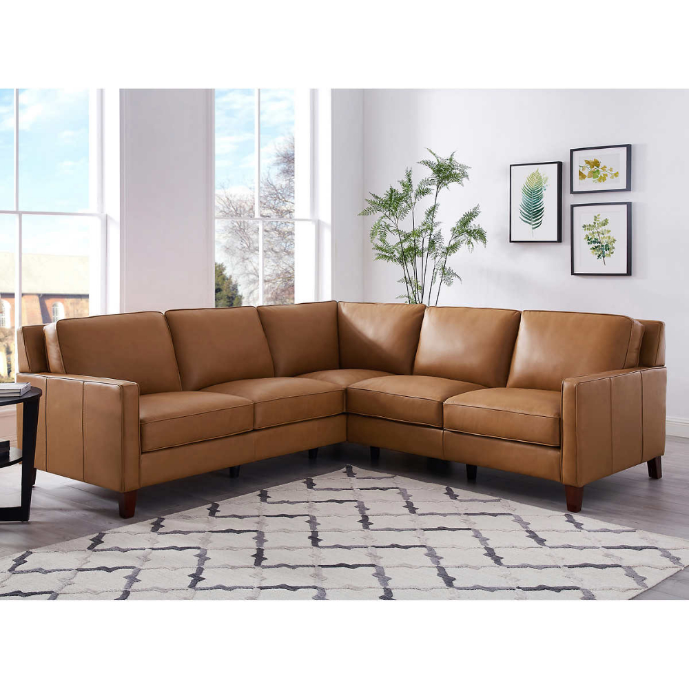 West Park Leather Sectional | Leather Couches Living Room Regarding Florence Mid Century Modern Right Sectional Sofas Cognac Tan (View 3 of 15)