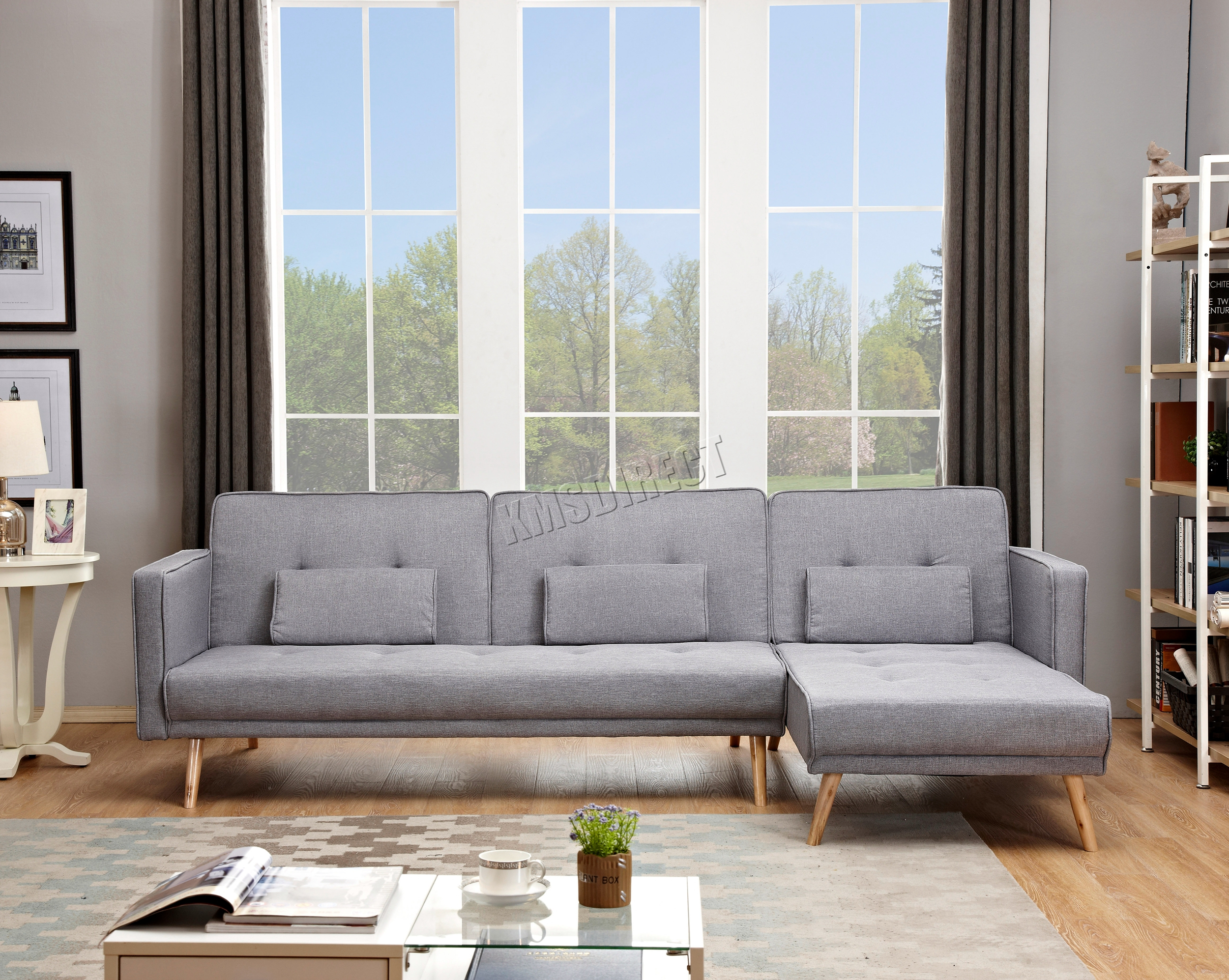 Westwood Luxury L Shape Fabric Sofa Bed Corner Couch 3/4 In Fancy Sofas (View 6 of 15)