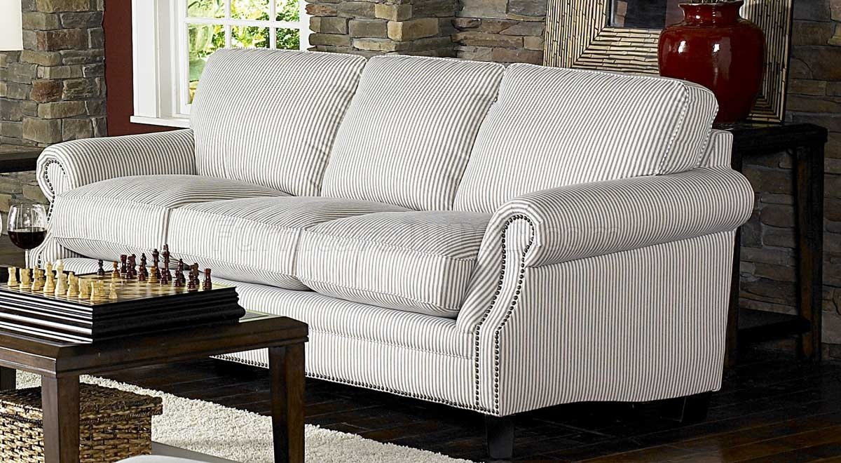 White & Blue Striped Fabric Cottage Style Sofa & Loveseat Set Regarding Striped Sofas And Chairs (View 12 of 15)