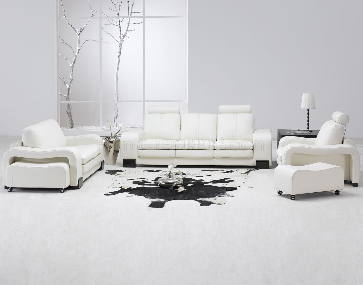 White Leather 4Pc Modern Sofa, Loveseat, Chair & Couch Pertaining To 4Pc Beckett Contemporary Sectional Sofas And Ottoman Sets (View 9 of 15)