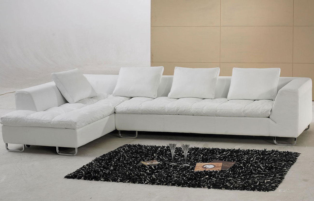 White Leather Sectional Sofa With Pillow Top Design (View 10 of 15)
