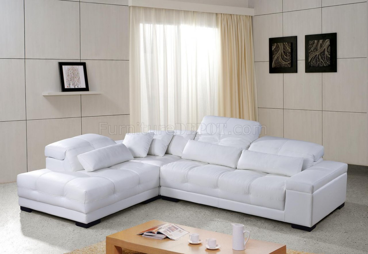 White Tufted Leather Modern Sectional Sofa W/Wooden Legs Intended For White Sofa Chairs (View 13 of 15)