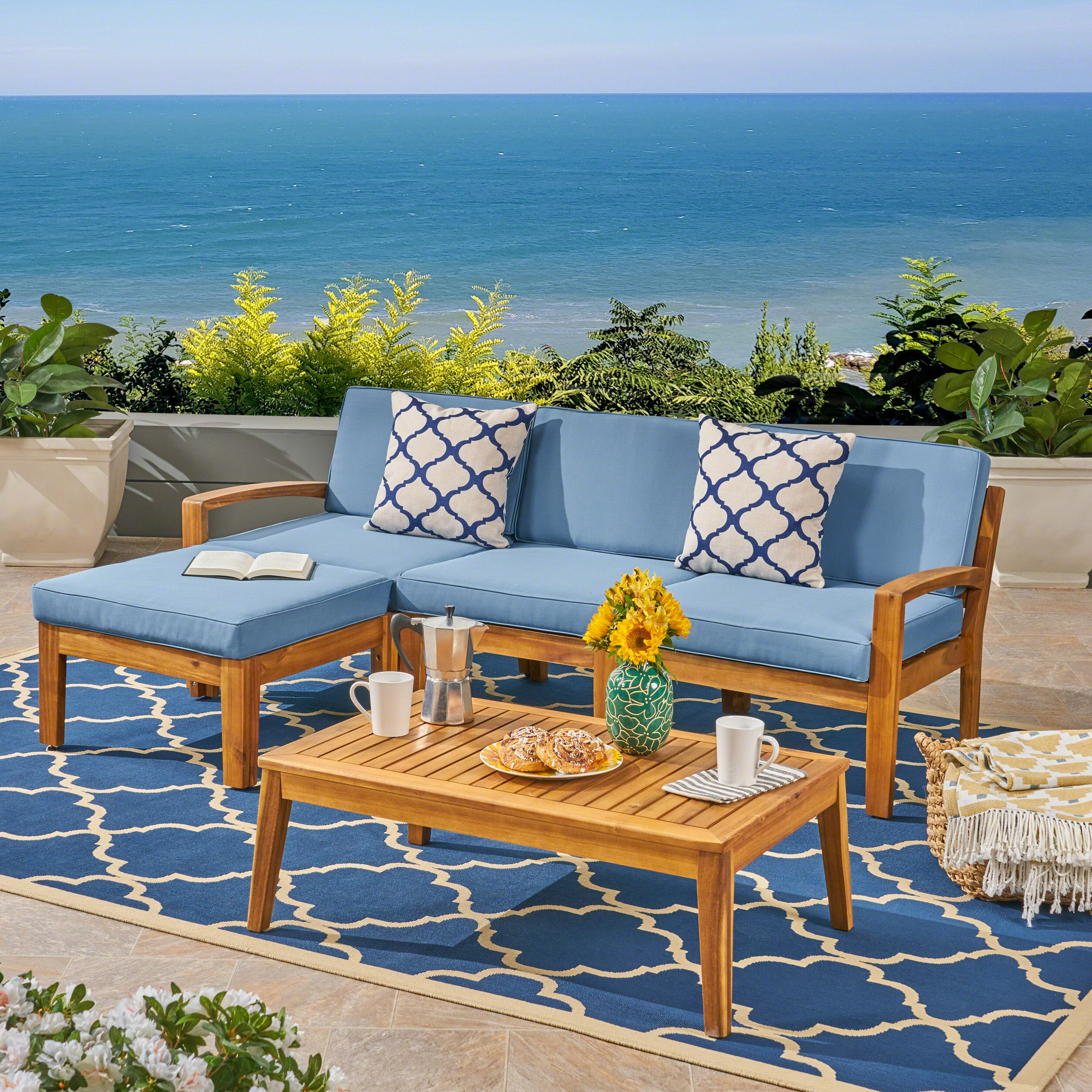 Wilcox Outdoor 5 Piece Acacia Wood Sectional Sofa Set With Intended For Outdoor Sofa Chairs (View 1 of 15)