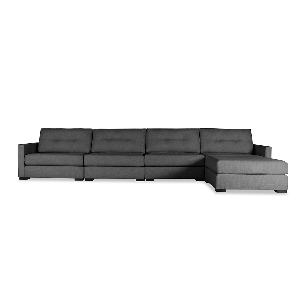 Wilton Buttoned Modular Right Chaise Sectional Intended For Wilton Fabric Sectional Sofas (View 6 of 15)