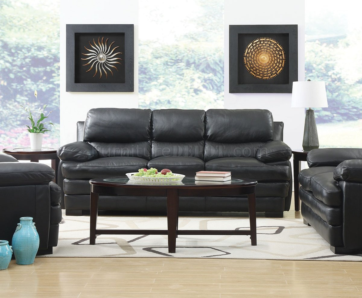 Wilton Sofa & Loveseat In Black Leather Match W/Options Pertaining To Wilton Fabric Sectional Sofas (View 11 of 15)