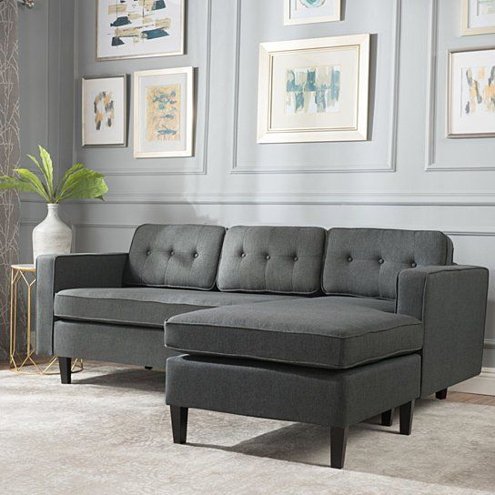Windsor Mid Century 2 Piece Fabric Chaise Sectional Sofa Within 2Pc Connel Modern Chaise Sectional Sofas Black (View 7 of 15)
