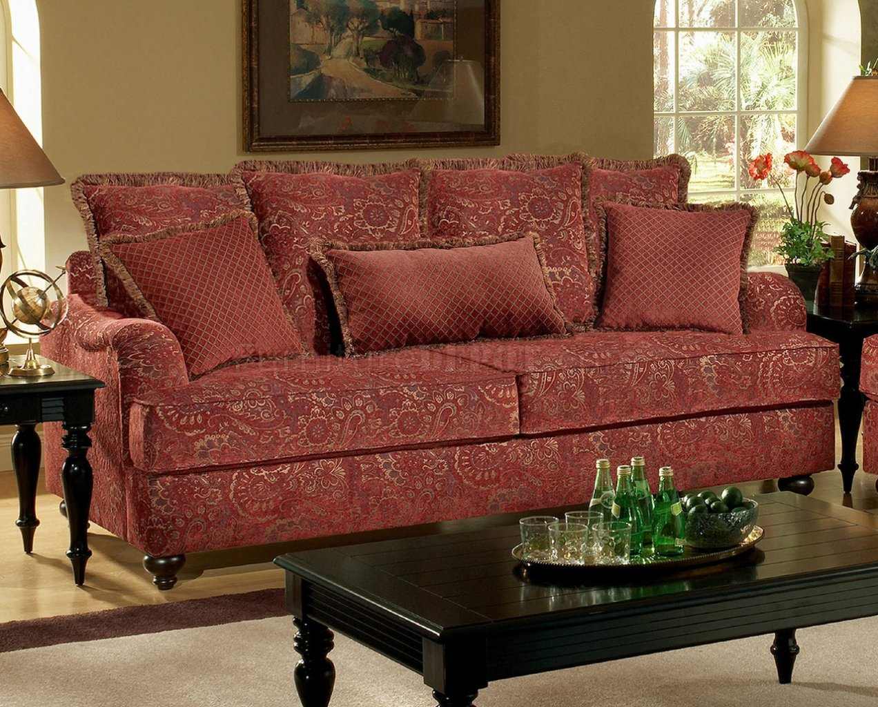 Wine Fabric Casual Sofa+Loveseat Set W/Optional Chair & Half For Fabric Sofas (View 4 of 15)
