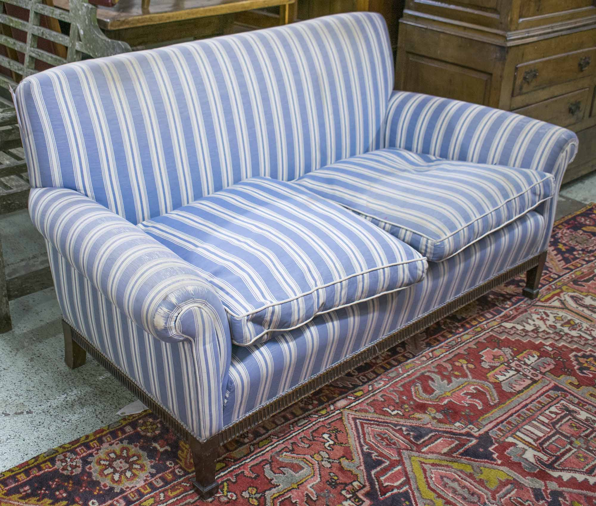 Withdrawn Sofa, Edwardian Mahogany Two Seater In Blue And Throughout Striped Sofas And Chairs (View 10 of 15)
