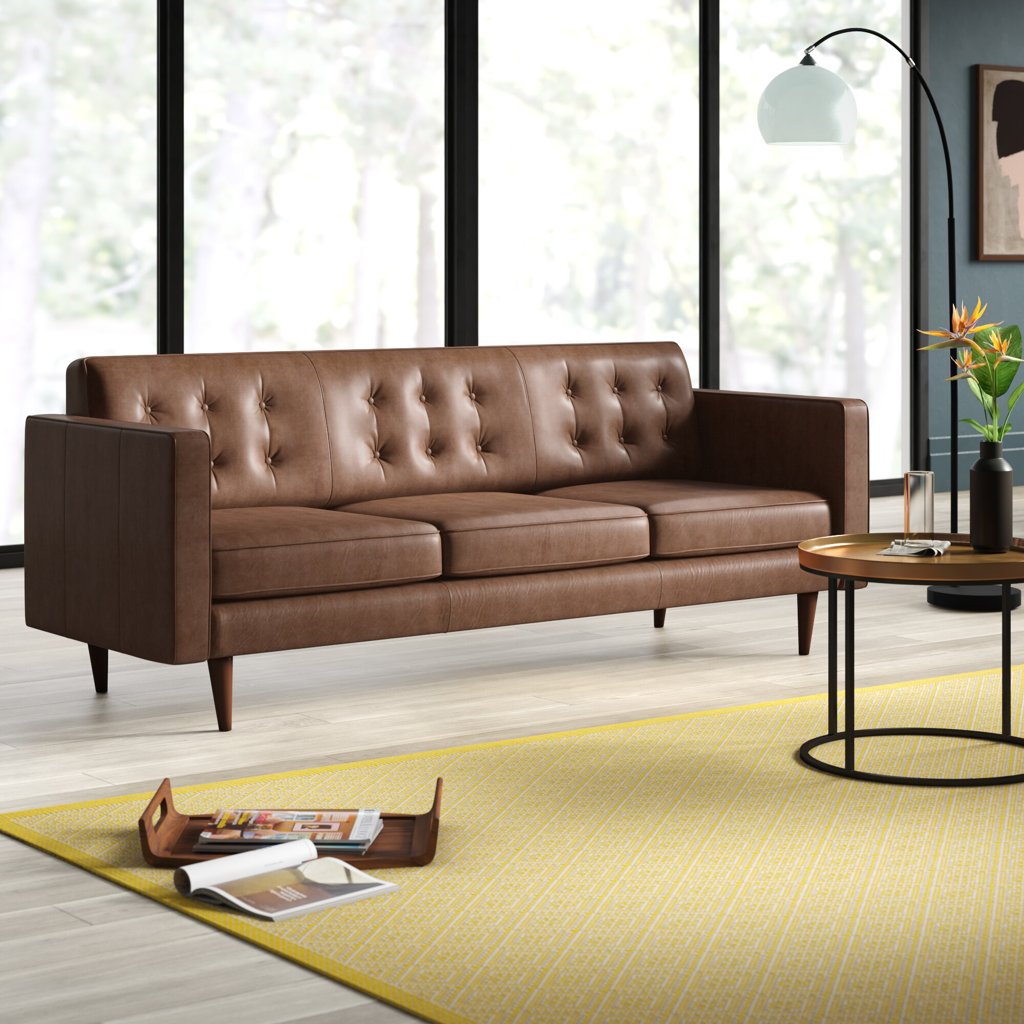 Wood Chair Second: Leather Sofa Mid Century Modern With Florence Mid Century Modern Right Sectional Sofas Cognac Tan (View 4 of 15)