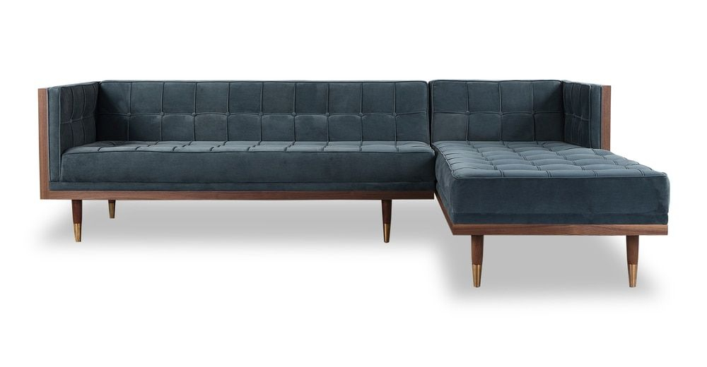 """Woodrow Box 100"""" Fabric Sofa Sectional Right, Walnut For Somerset Velvet Mid Century Modern Right Sectional Sofas (View 4 of 15)"""