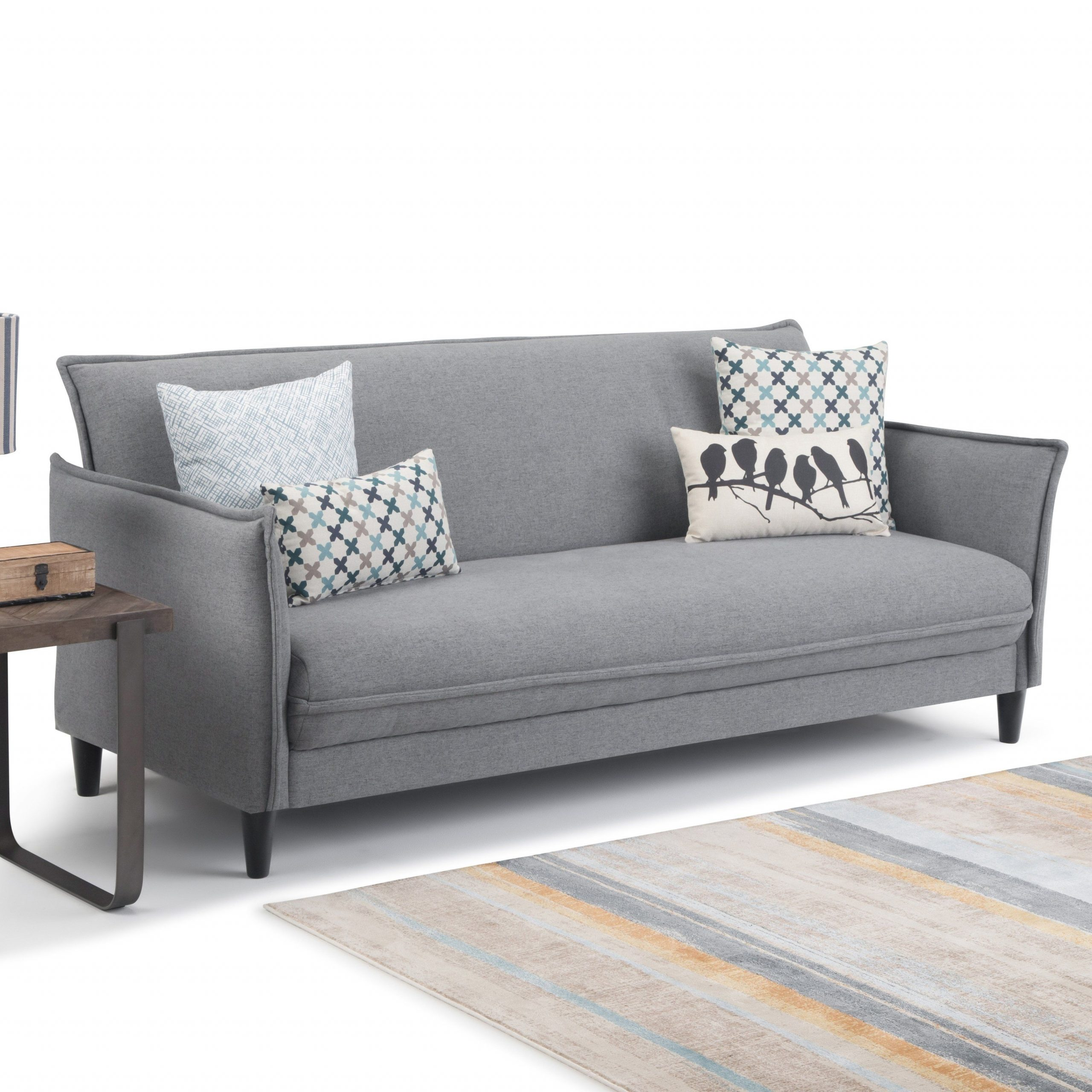 Wyndenhall Kichler Contemporary 81 Inch Wide Sofa Bed In Pertaining To Gneiss Modern Linen Sectional Sofas Slate Gray (View 2 of 15)