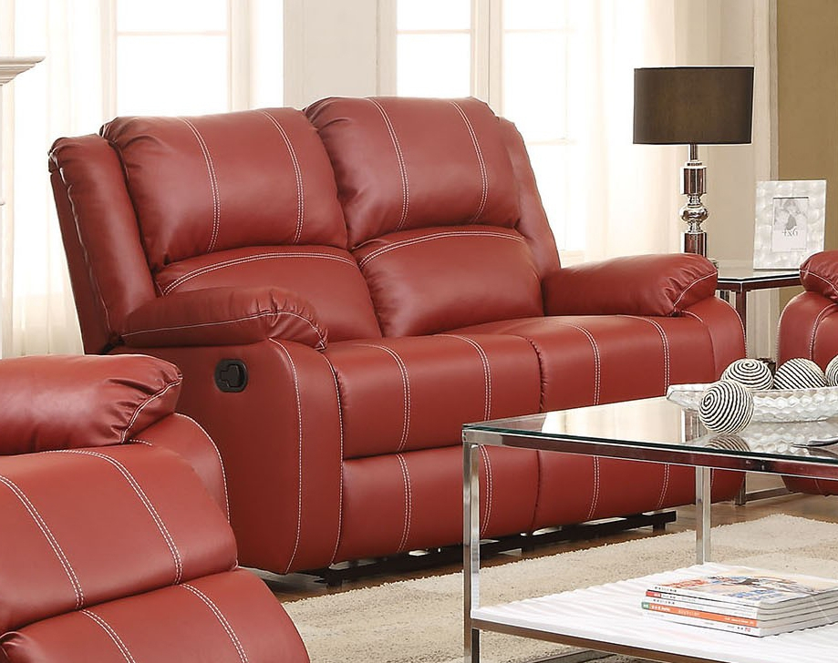 Zuriel 3 Pc Red Pu Leather Manual Recliner Sofa Setacme Pertaining To Manual Reclining Sofas (View 6 of 11)