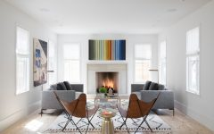 2015 Minimalist Farmhouse Living Room With Fireplace