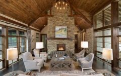 2017 Rustic Living Room With Stone Fireplace for Contemporary Interior