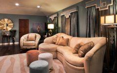 Art Deco Inspired Living Room with Zebra Striped Rug and Velvet Ottomans