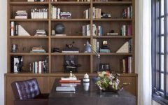 Arts and Crafts Home Office With Bookcase and Upholstered Leather Chair