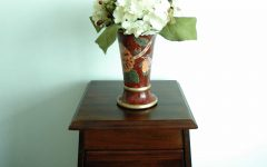 Asian Style Flower Vase With White Hydrangeas