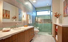 Bathroom and Shower With Green Ceramic Shower Wall