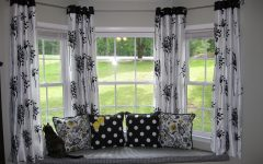 Bay Windows with Black White Curtain Decor
