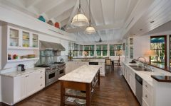 Beautiful Kitchen Features Carrara Marble Countertops and Vaulted Ceiling