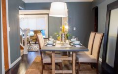 Blue Dining Room With Rustic Dining Table