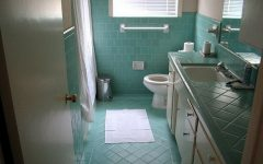 Blue Tiled Retro Bathroom Design Ideas