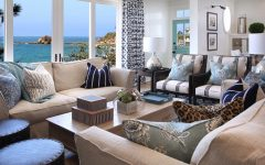 Blue and White Coastal Living Room With Ocean View