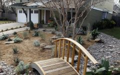 Cape Cod Style Home With Curved Wooden Bridge Over Xeriscaped Yard