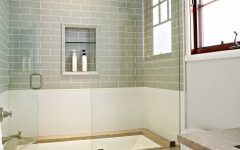 Casual Bedroom Pairs Clean White Tile Wainscoting With Soothing Green Subway Tile