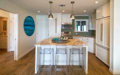 Coastal Inspired Kitchen With Green Mosaic Backsplash