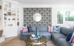 Coastal Living Room With Seashell Wallpaper Accent Wall