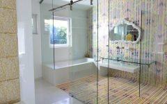 Colorful Cozy Bathroom Modern Design with Glass Door