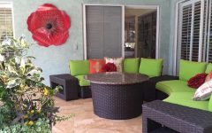 Colorful Outdoor Patio With Brown Wicker Furniture Set