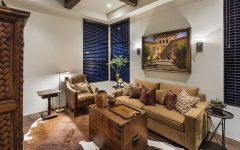 Comfy Southwestern Living Room With Tan Furniture and Cowhide Rug
