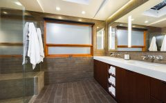 Contemporary Bathroom with Brown Flooring for Beautiful Look