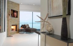 Contemporary Coastal Living Room With Stone Fireplace