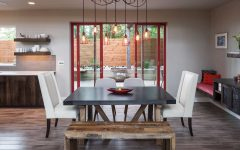 Contemporary Dining Room Features Creative Light Fixture