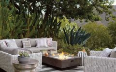 Contemporary Outdoor Rug and Furniture With Fireplace