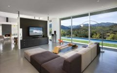 Contemporary Tv Accent Wall With Panels and Sleek Couch
