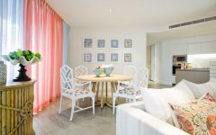 Coral and Dusty Blue Dining Room With Bamboo Chairs