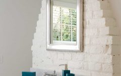 Cottage Bathroom Mirror With White Brick Wall With Vanity